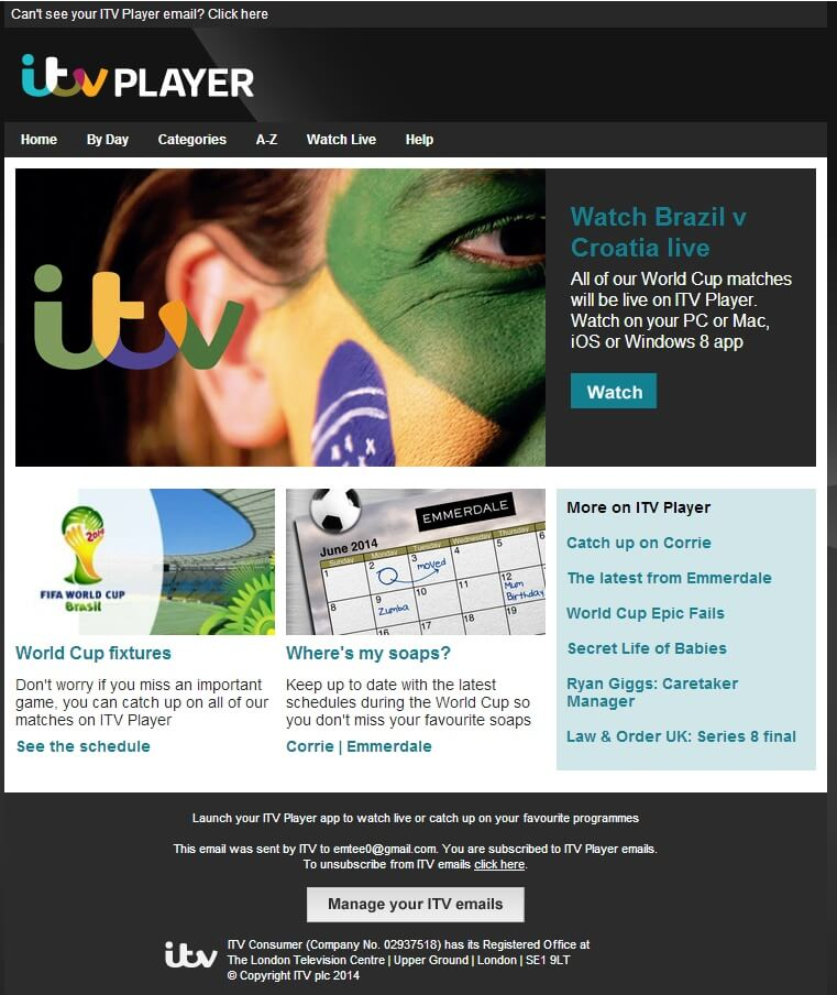 Itv Player – World Cup | Email Design Inspiration