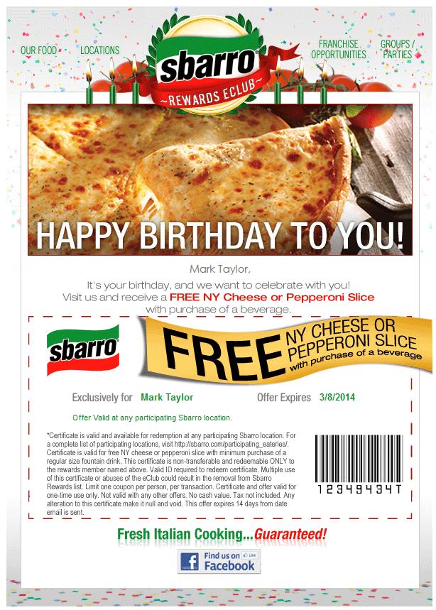 Sbarro-Birthday